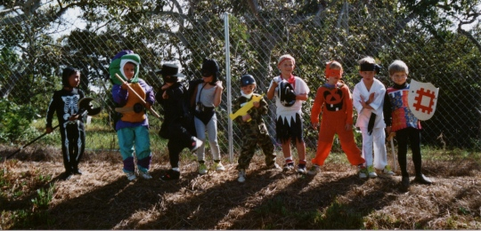 My son, second from left, in his Ninja Turtle costume.