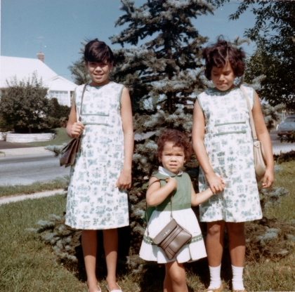 Coordinated dresses, courtesy of my mother.