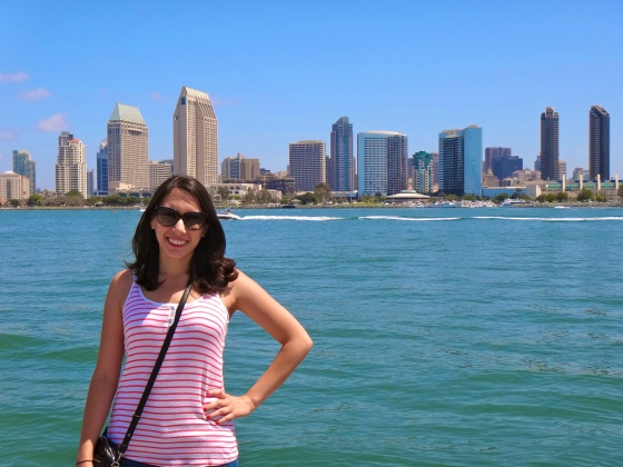 That's my daughter posing in front of the San Diego skyline, as seen from Coronado.