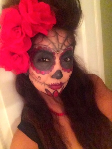 For Halloween, Zuliya uses sugar skull makeup. Absolutely divine!