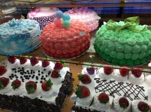 Strangely colored cakes taste like what, I wonder.