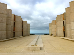 The Salk Institute, a San Diego scientific research institution founded by Jonas Salk. Located in La Jolla right on the Pacific Ocean, the concrete buildings on seem to lead you right to the water.