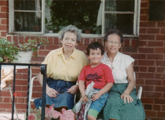 Left to right: My mother, my son and Carmen, sitting on the porch, circa 1989.