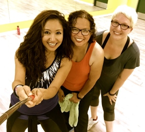 L to R: Zuliya, my wonderful Zumba instructor, me and Elise!